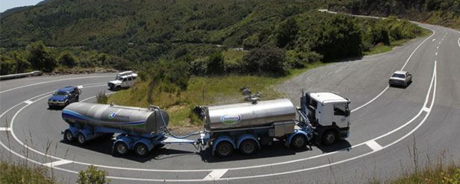 Truck on windy road